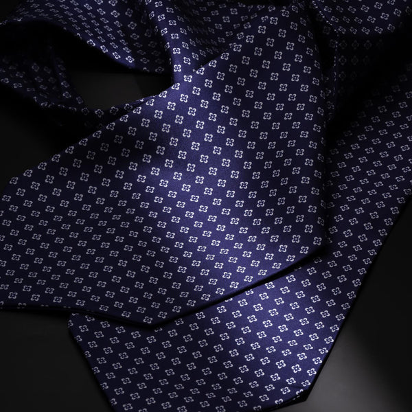 Silk Ascot Tie, Navy with White Flowers-ANTORINI®