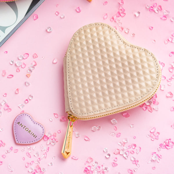 ANTORINI Heart Coin Purse in Beige Pyramids