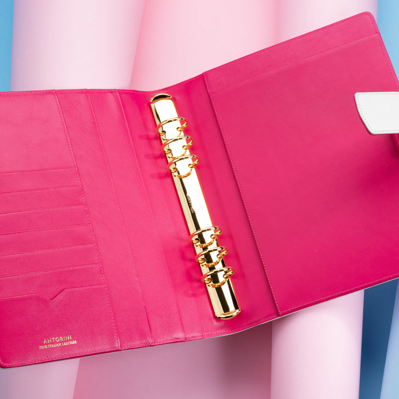 Leather Manager A5 Agenda in Ivory and Fuchsia, 2021-ANTORINI®