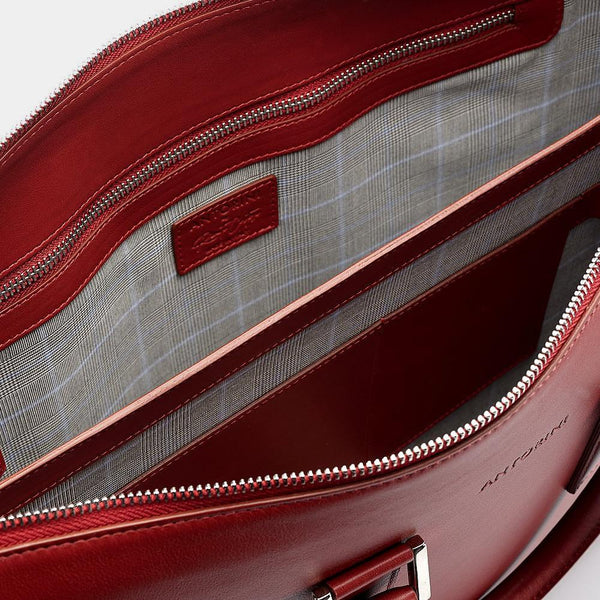 Leather Briefcase in Amaranth