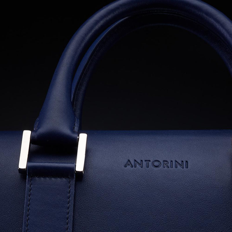 Leather Briefcase in Navy