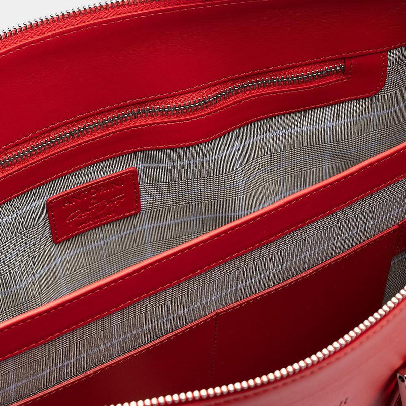 Leather Briefcase in Red