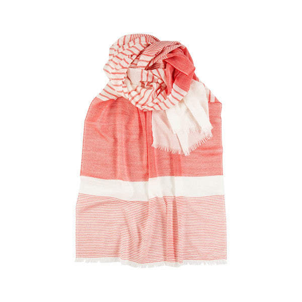Light Wool Scarf in Coral