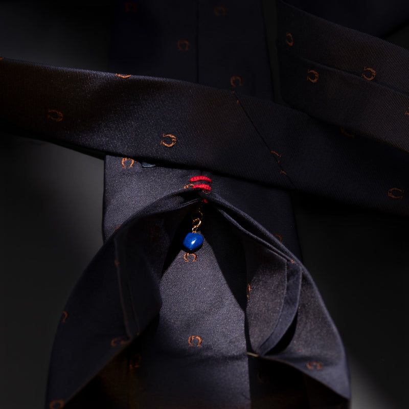 Silk Lucky Tie in Navy Blue with Horse Shoes and Heart-ANTORINI®