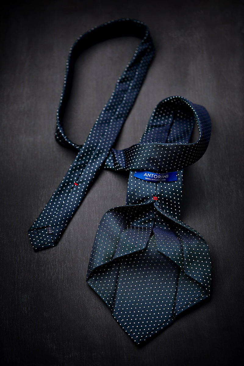 Silk Lucky Tie in Blue Emerald* with Coral Charm