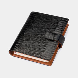 Multifunctional Leather A5 Journal/Diary and Note Pad in Black Croc & Cognac