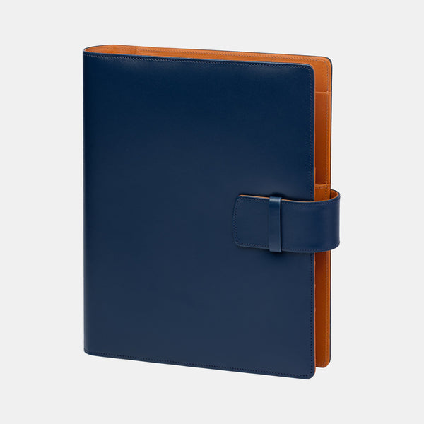 Leather Manager A5 Agenda in Navy and Cognac
