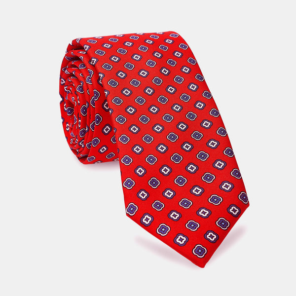 Silk Patterned Tie in Red-ANTORINI®