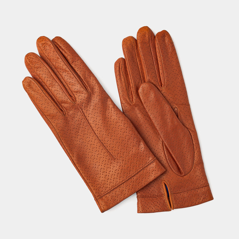 Silk Lined Leather Gloves in Nut-ANTORINI®