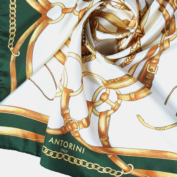 Jockey Silk Scarf in Green, 90 cm-ANTORINI®