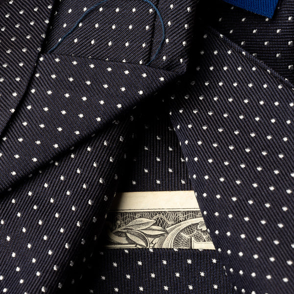 Silk Pocket Tie in Navy with White Dots-ANTORINI®