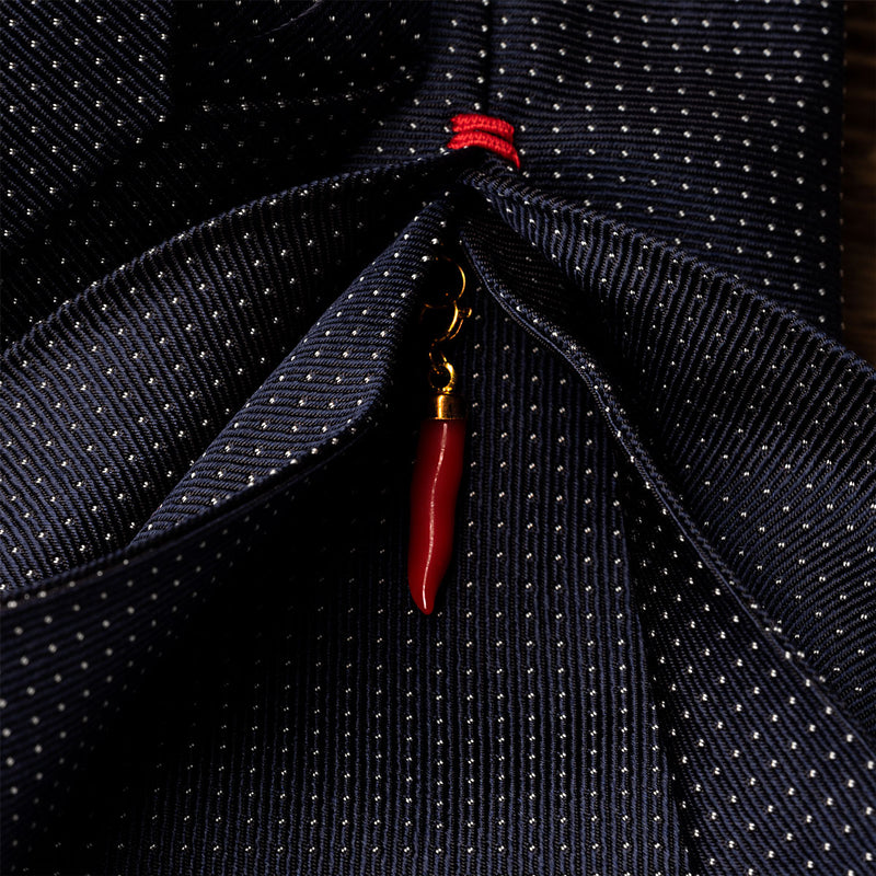 Silk Lucky Tie in Navy with White Dots And Coral Charm-ANTORINI®