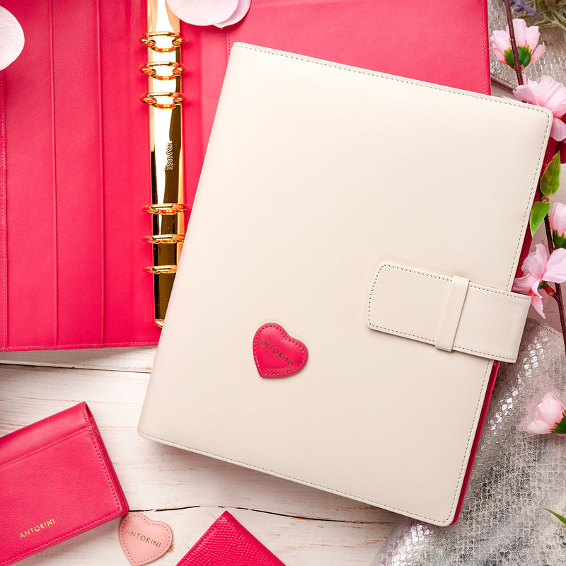 Leather Manager A5 Agenda in Ivory and Fuchsia, 2021
