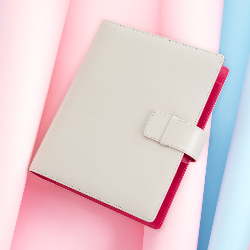Leather Manager A5 Agenda in Ivory and Fuchsia, 2019