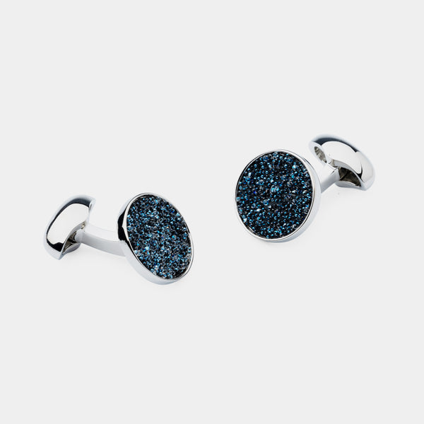 Men's Cufflinks with Blue Swarovski Crystals-ANTORINI®