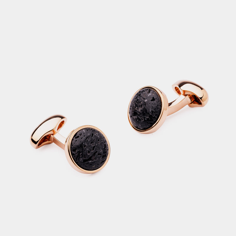 Men's Cufflinks with Lava Stones, Gold Plated-ANTORINI®