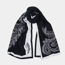 Cashmere Scarf Patterned in Black and White-ANTORINI®