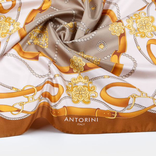 Gold & Bridle Scarf, Brown-ANTORINI®