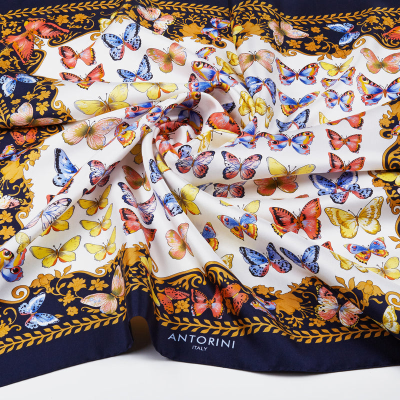 Silk Scarf Butterflies in Navy