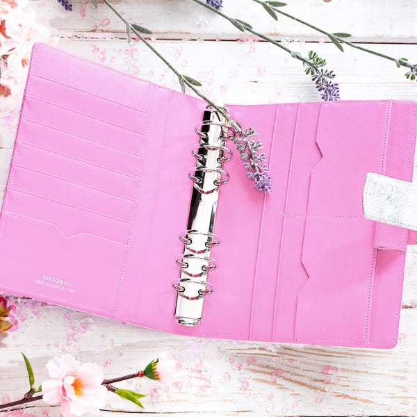 Luxury Leather A6 Agenda ESSENCE in Silver and Lila