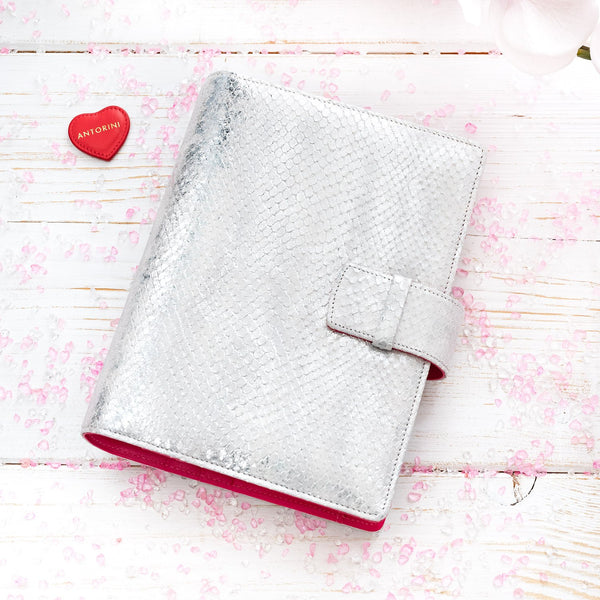Leather Manager A6 Agenda ESSENCE in Silver and Fuchsia