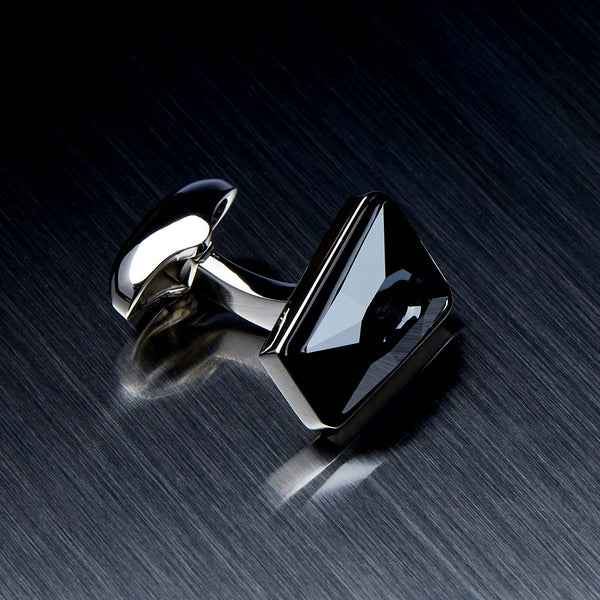 Men's Cufflinks with Black Swarovski Crystals-ANTORINI®