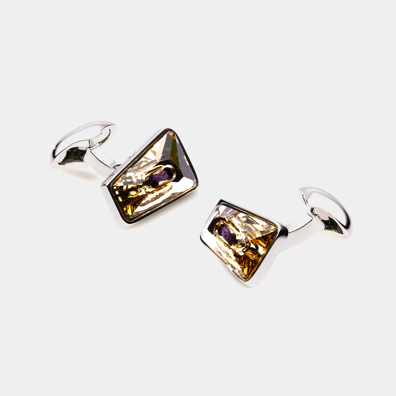 Men's Cufflinks with Yellow Swarovski Crystals-ANTORINI®