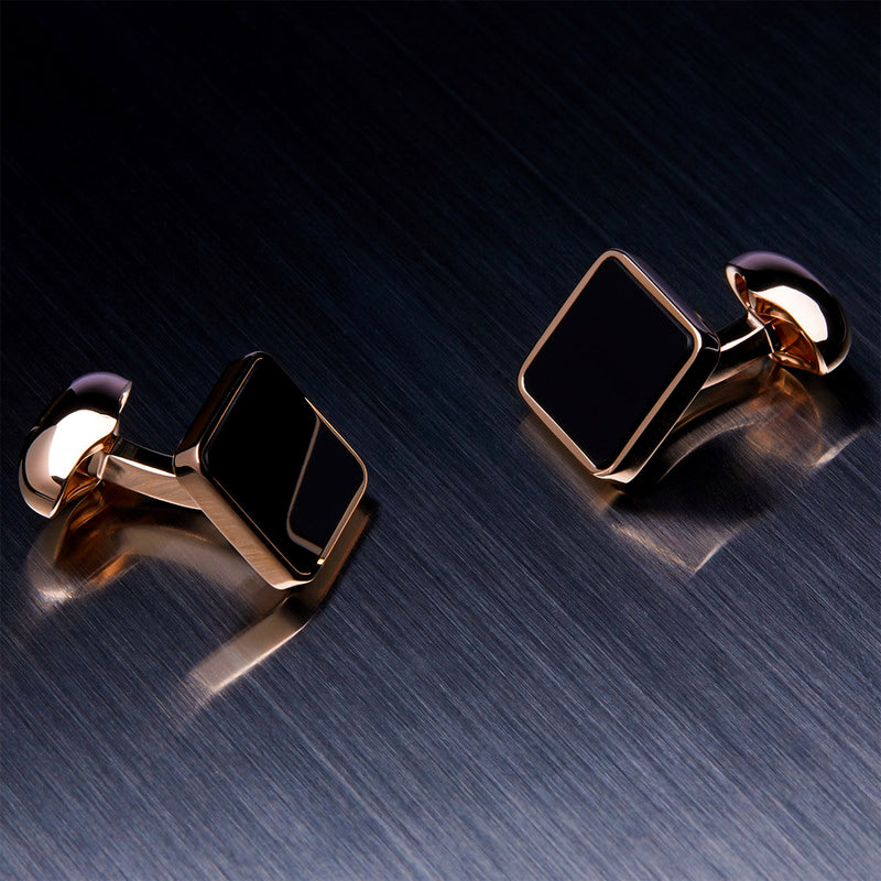 Men's Square Cufflinks, Onyx, Gold Plated-ANTORINI®
