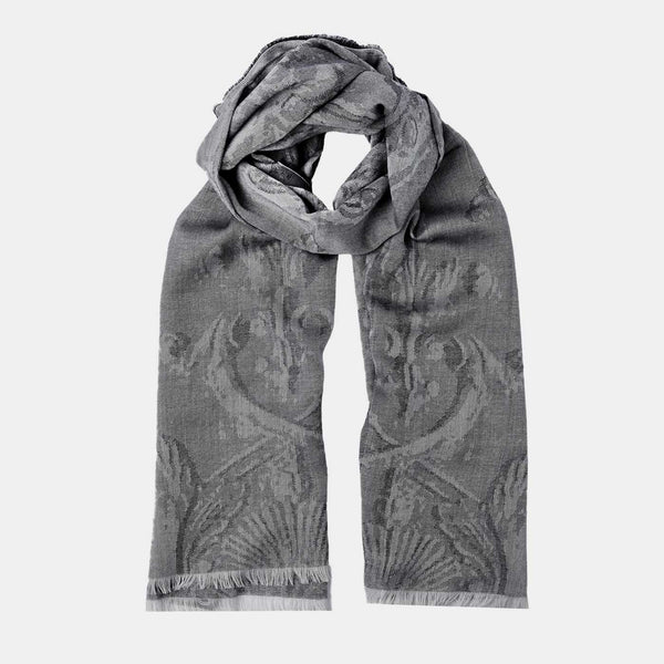 Men's Cashmere Scarf with Floral Motif in Grey