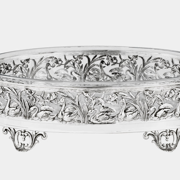 Copy of Glass Fruit Bowl with Silver Plated Swans Decoration-ANTORINI®
