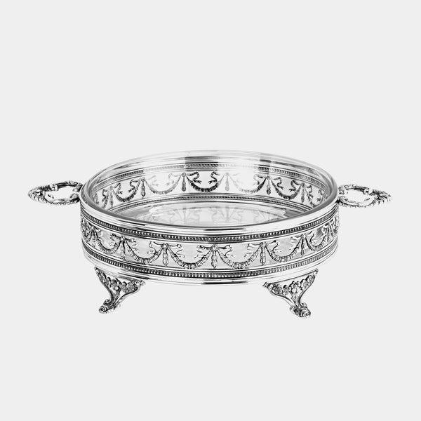 Glass Fruit Bowl Majestic with Silver Plated Decoration-ANTORINI®