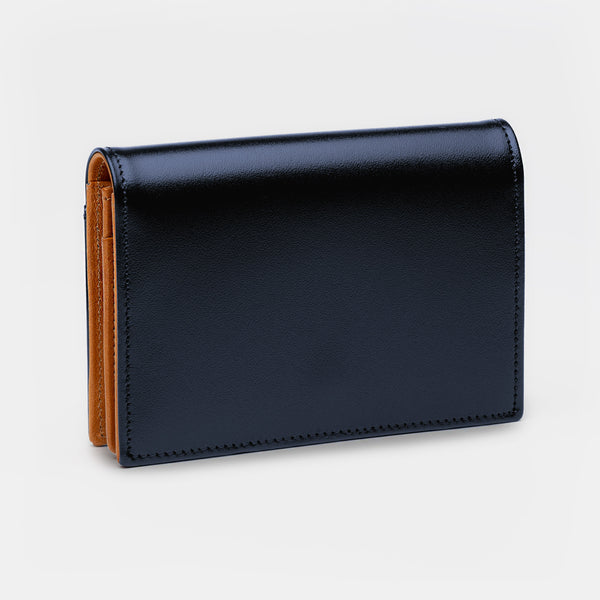 Credit and Business Card Holder in Navy and Cognac-ANTORINI®