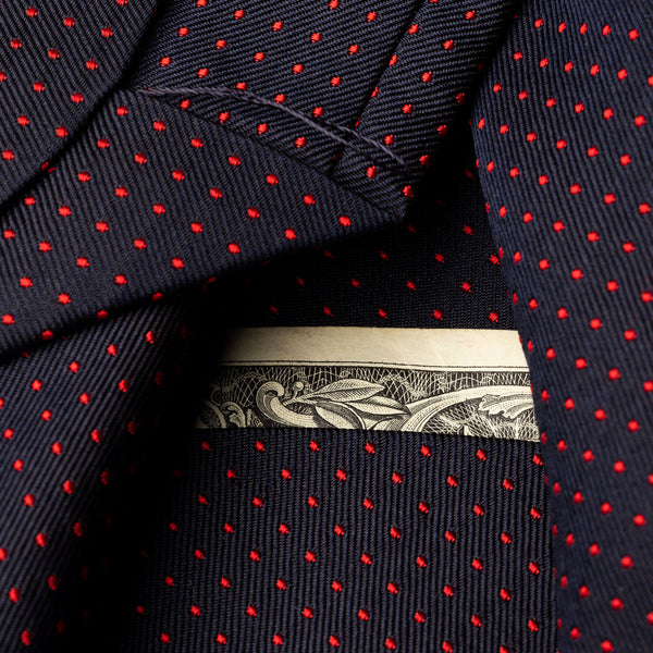 Silk Pocket Tie in Navy with Red Dots-ANTORINI®