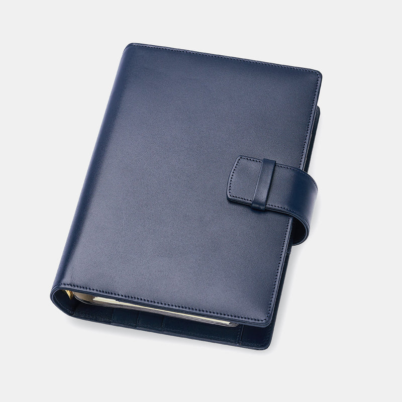 Leather Manager A6 Agenda in Navy