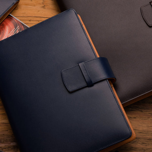 Leather Manager A5 Agenda in Navy and Cognac-ANTORINI®