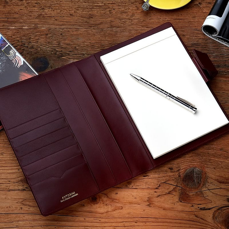 Leather A5 Padfolio in Burgundy with note pad
