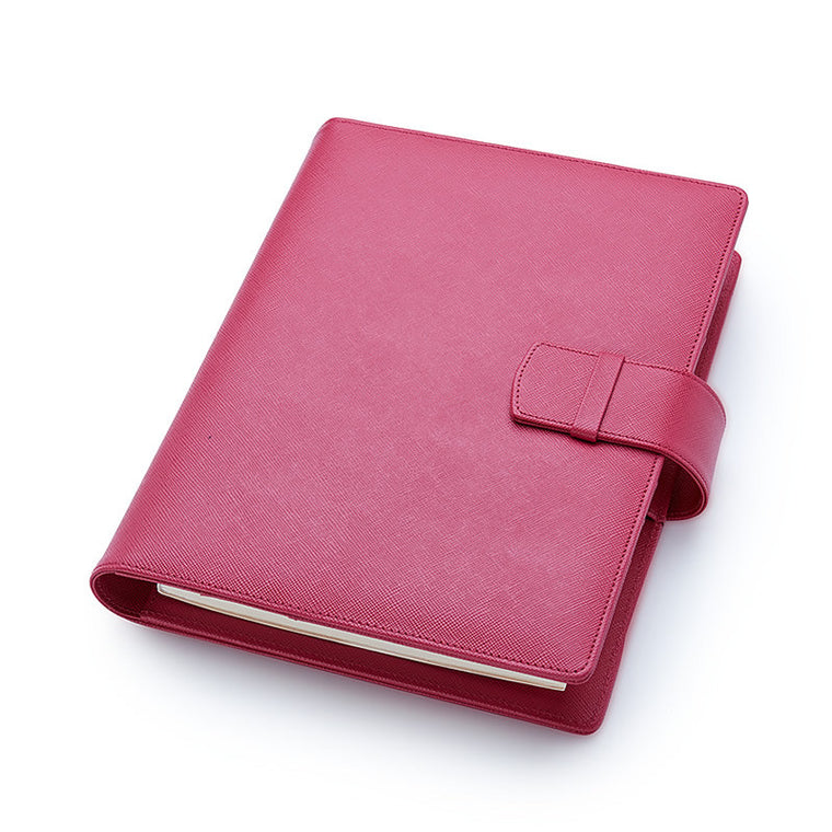 Multifunctional Leather A5 Journal/Diary and Note Pad in Fuchsia Saffiano
