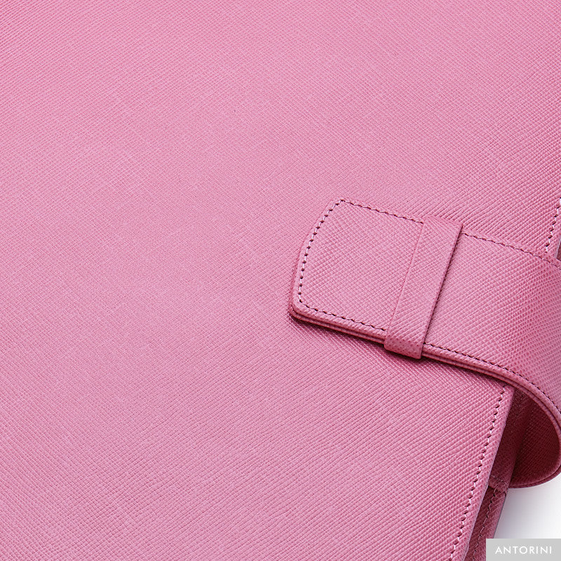 Multifunctional Leather A5 Journal/Diary and Note Pad in Pink Saffiano