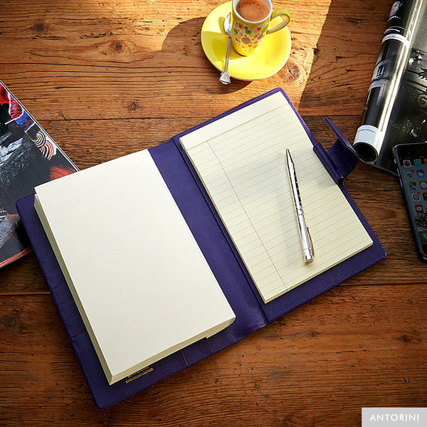 Multifunctional Leather A5 Journal/Diary and Note Pad in Purple Saffiano
