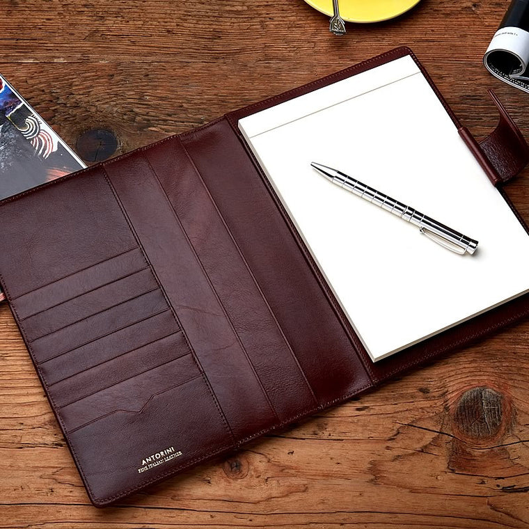 Leather A5 Padfolio in Venice Brown with note pad