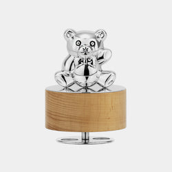 Music Box with Teddy Bear and Lullaby Song, Silver 925/1000, 55 g-ANTORINI®