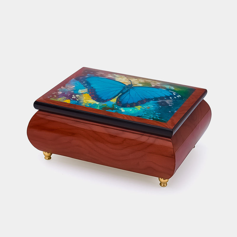 Music Jewellery Box with Motive Blue Butterfly-ANTORINI®