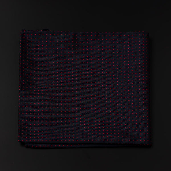 Jacquard Silk Pocket Square in Navy With Red Dots-ANTORINI®