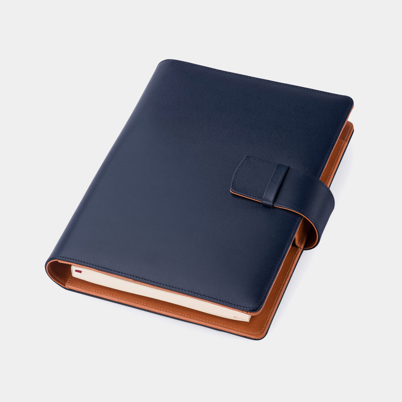 Multifunctional Leather A5 Journal/Diary and Note Pad in Navy Blue & Cognac-ANTORINI®