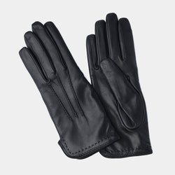 Wool Lined Leather Gloves in Black-ANTORINI®