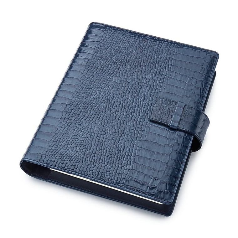 Leather Manager A5 Organiser in Blue Croc