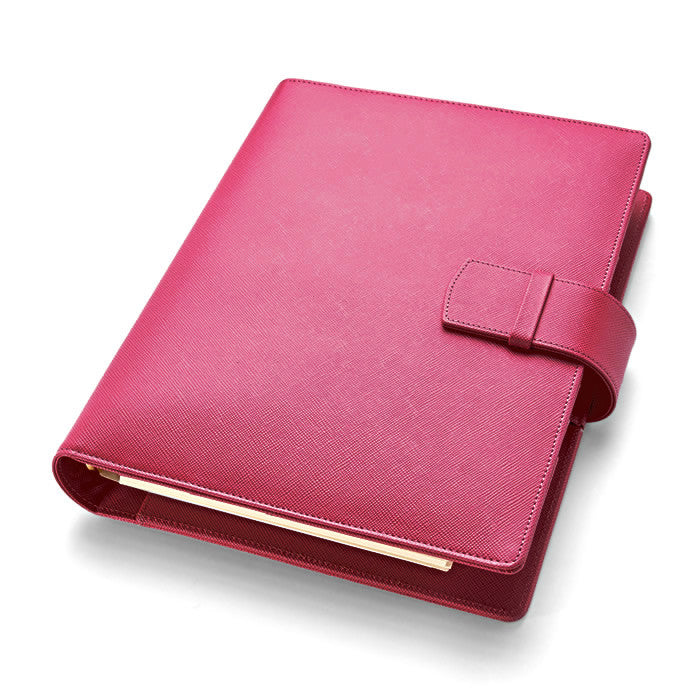 Leather Manager A5 Organiser in Fuchsia Saffiano