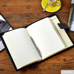 Multifunctional Leather A5 Journal/Diary and Note Pad in Black Terre-ANTORINI®