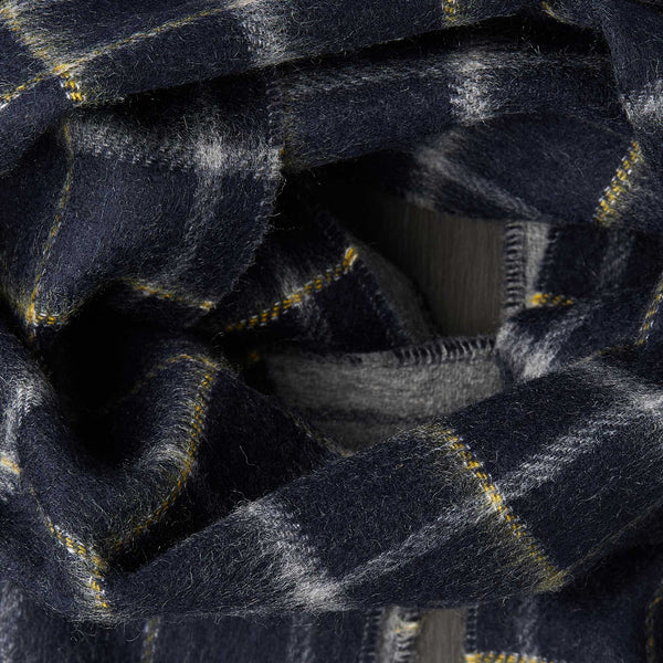 Men's Cashmere Scarf in Dark Grey with Tartan Pattern-ANTORINI®