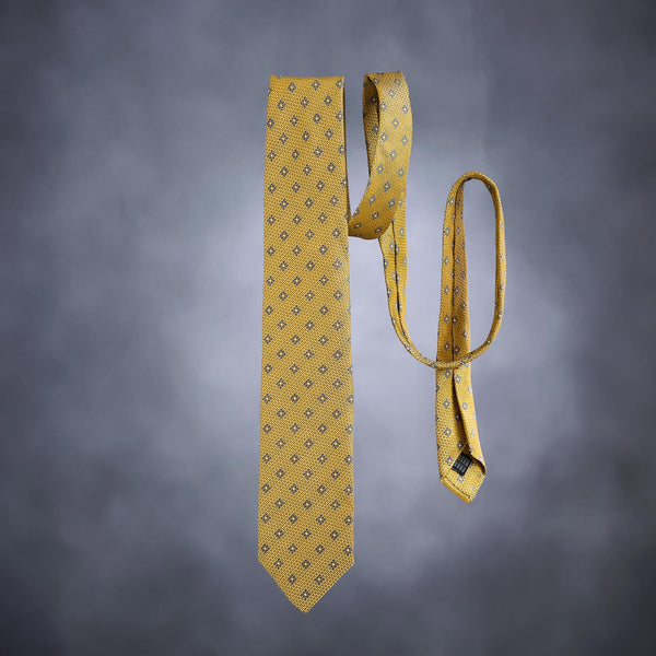 Men's Tie in Olive-Gold with Lucky Coral Charm-ANTORINI®